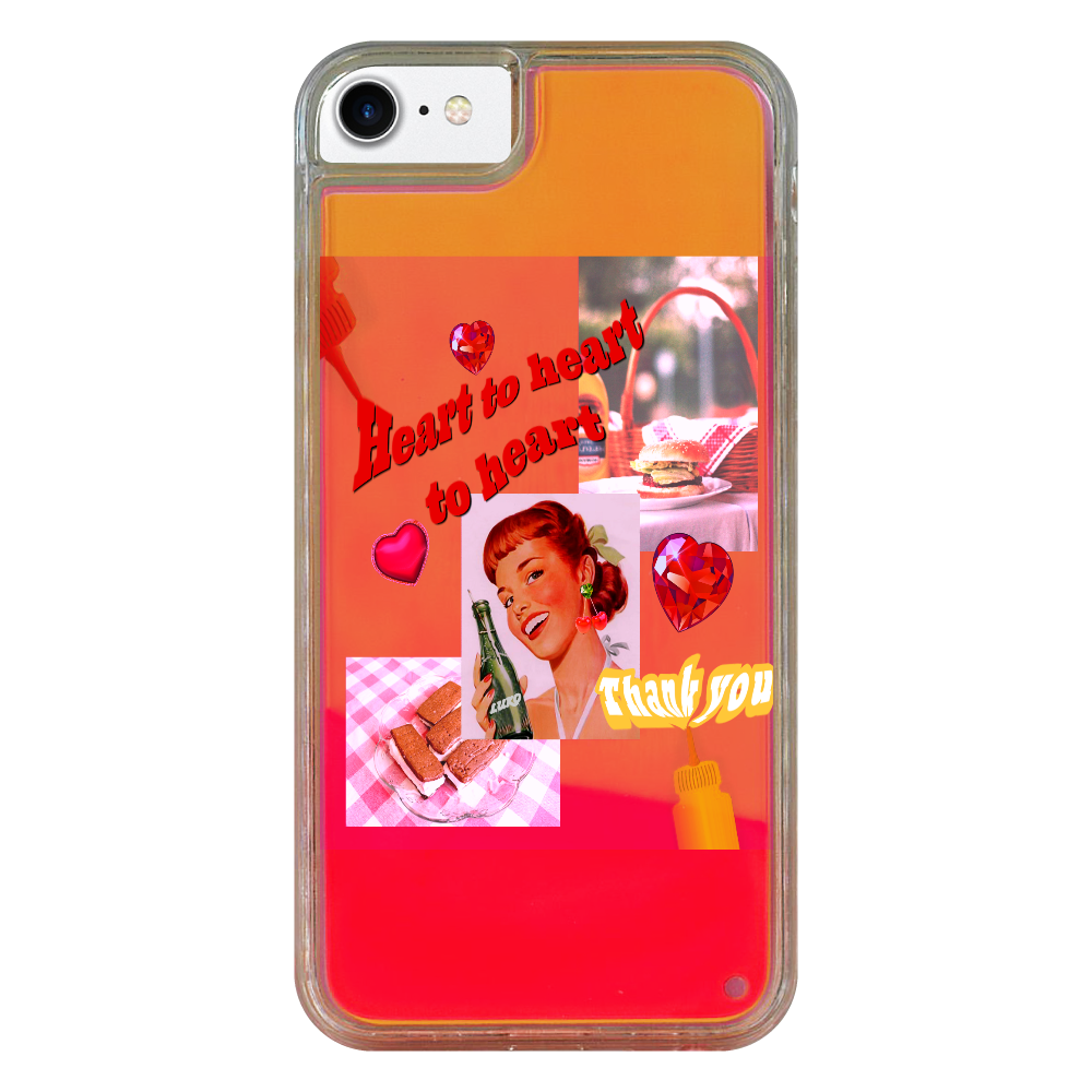 Heart to heart to heart iPhone SE2 ネオンサンドケース オレンジ×黄  iPhone SE2 ネオンサンドケース
