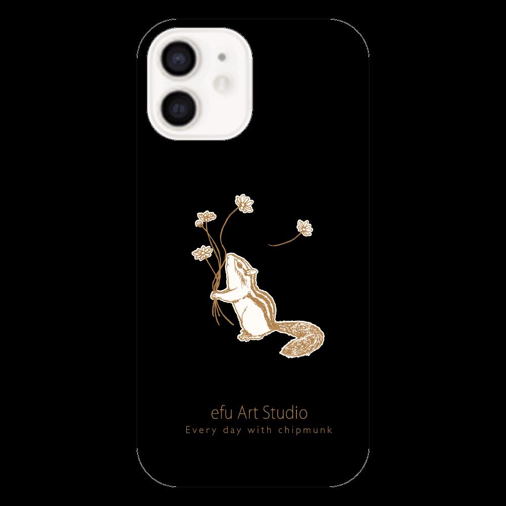 シマリスiPhoneケース(黒) iPhone12