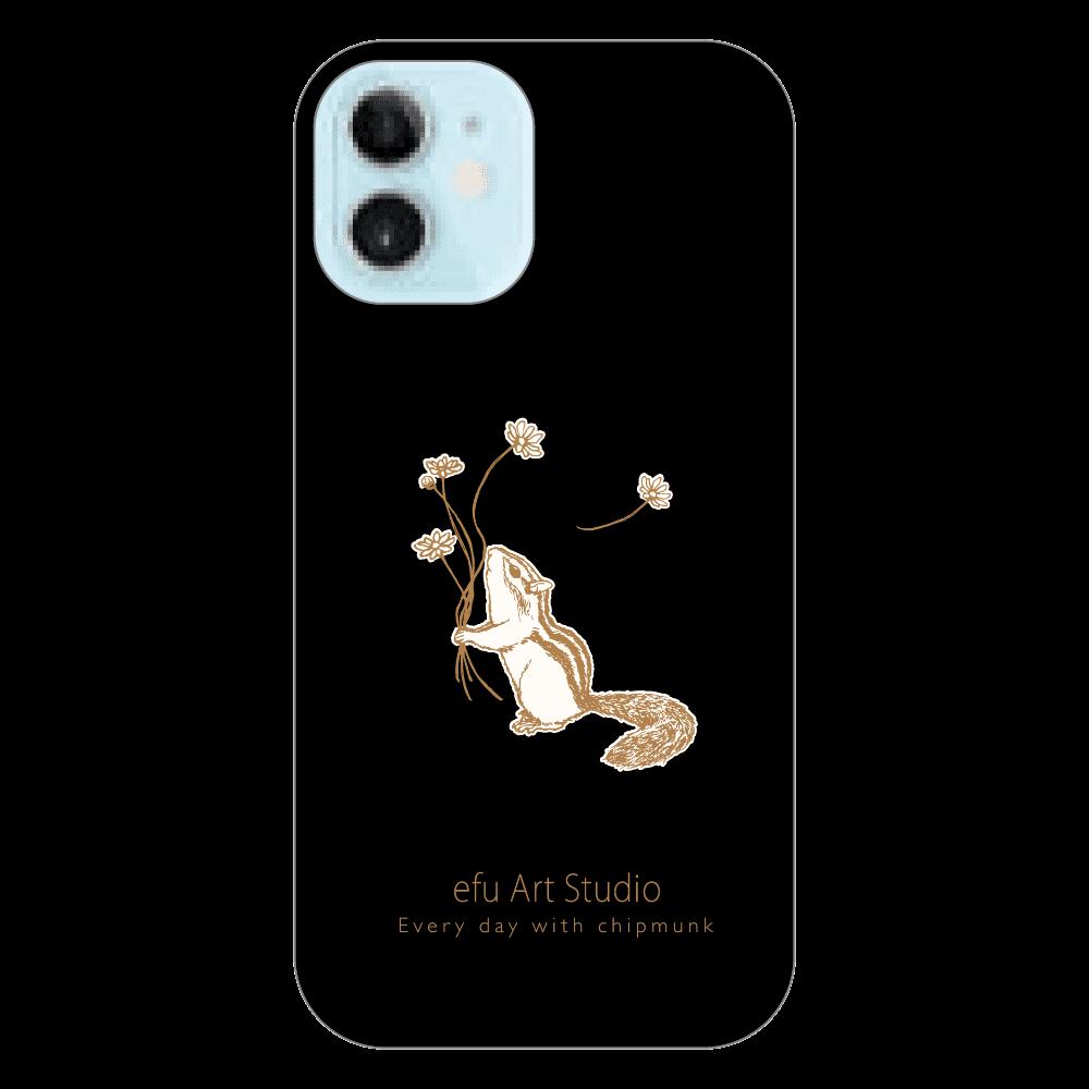シマリスiPhoneケース(黒) iPhone12 mini