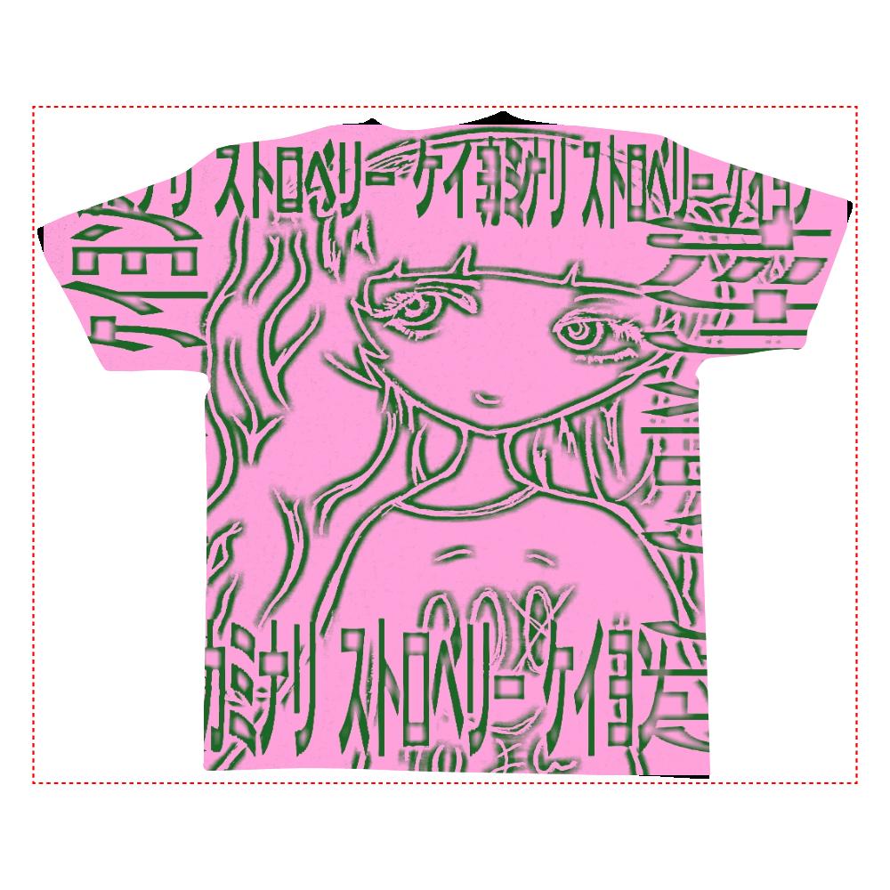 カミナリ ストロベリー 全面インクジェットTシャツ(L)