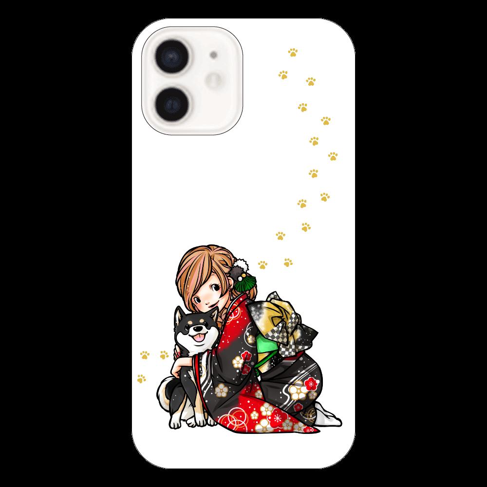 きもの女子と黒柴_A iPhone12(透明)