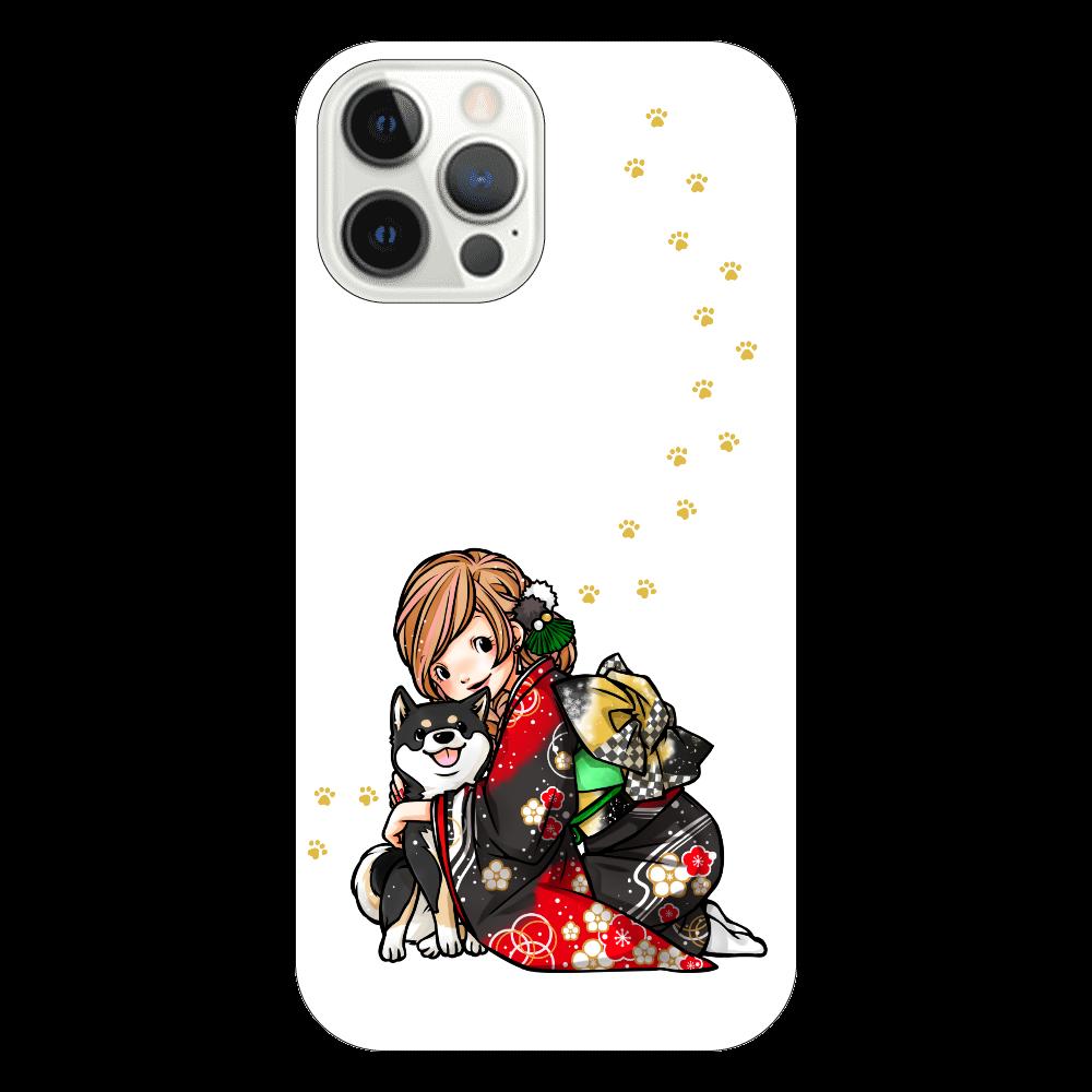 きもの女子と黒柴_A iPhone12 Pro(透明)