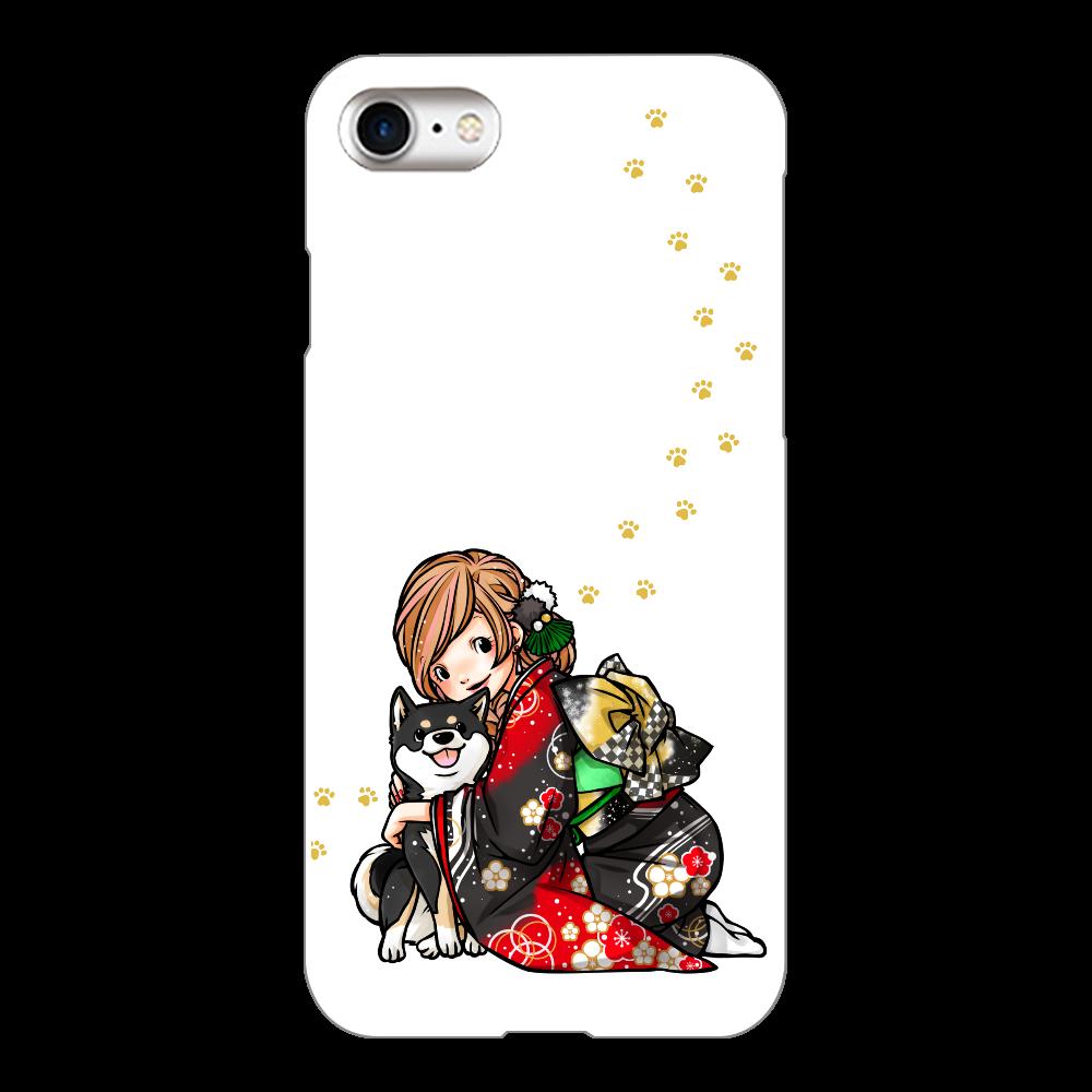 きもの女子と黒柴_A iPhone8(白)
