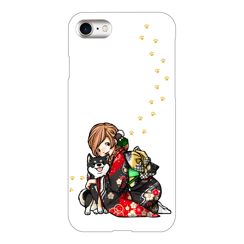 きもの女子と黒柴_A iPhone8(透明)