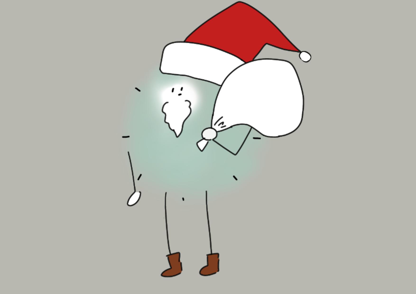サンタクロースとほこり 56㎜缶バッジ