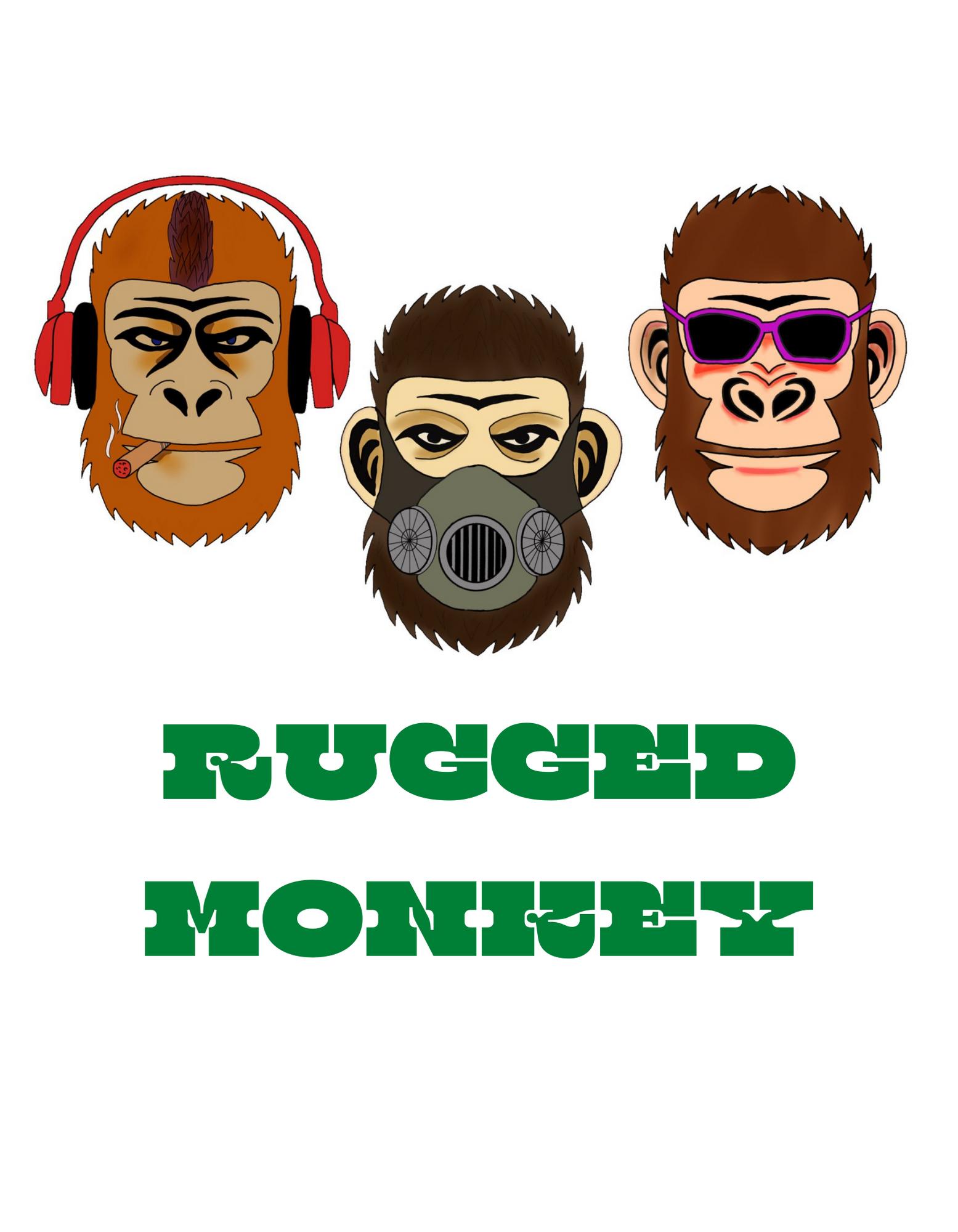 RUGGED MONKEY(見ざる聞かざる言わざる)Tシャツ ハイクオリティーTシャツ