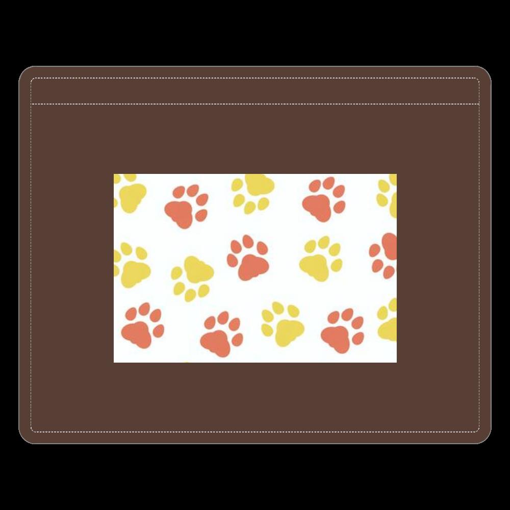 猫の足跡デザインver.2 レザーIDカードホルダー(ネックストラップ付)