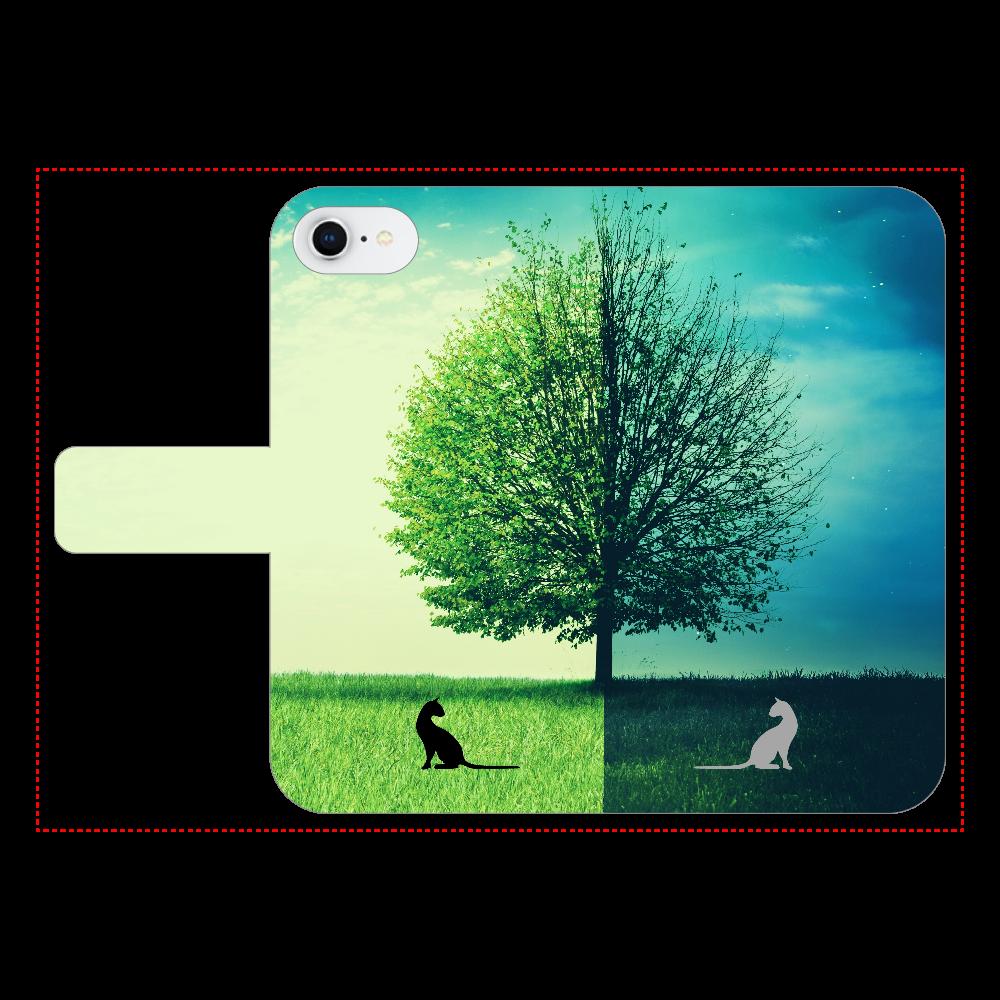 Clear-Fantasy01 (3ポケット) iPhone7 手帳型スマホケース ベルトあり3ポケット
