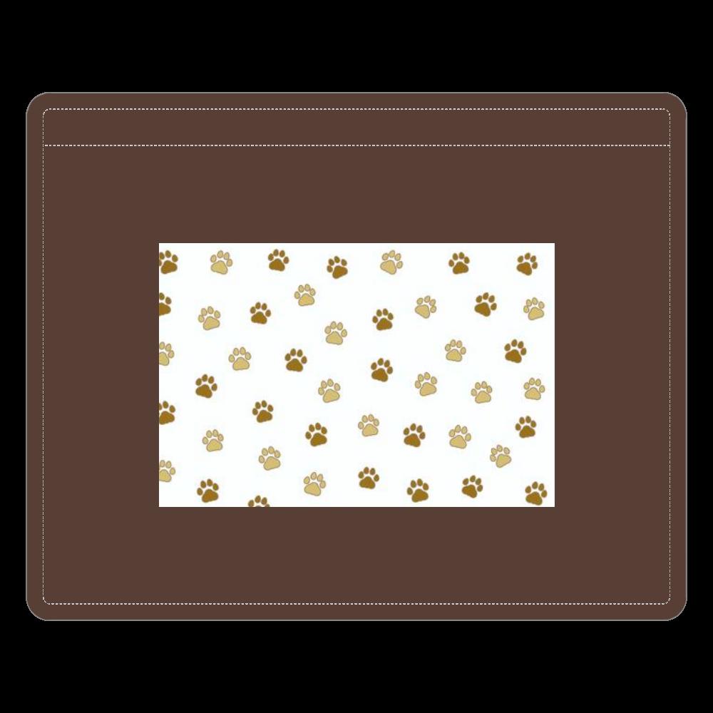 猫の足跡デザイン レザーIDカードホルダー(ネックストラップ付)