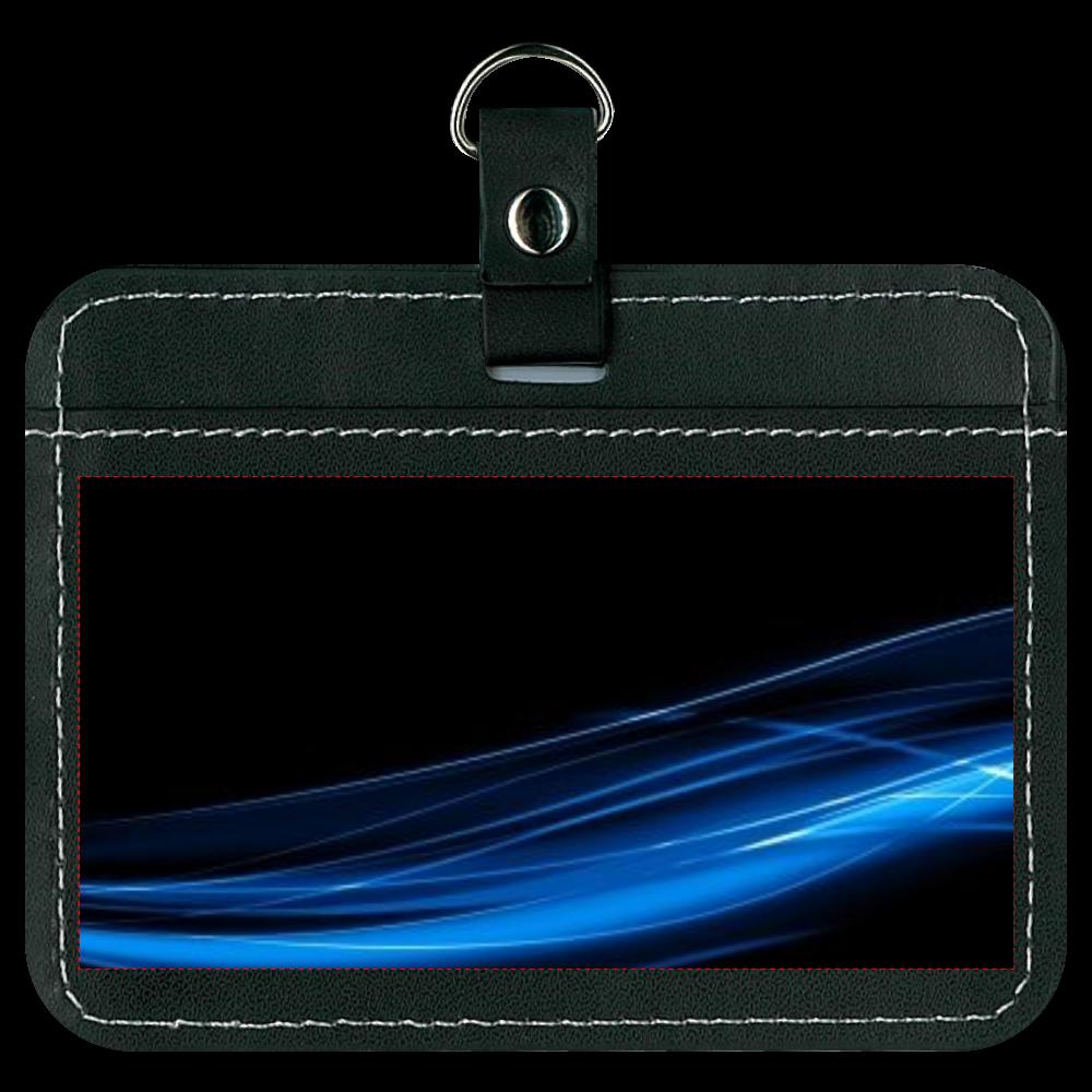 黒と青デザイン オリジナルパスケース