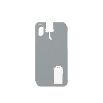 のびるねこ(白猫グレー) iPhoneケース iPhoneX/Xs
