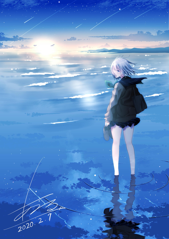 海にたたずむ少女 フレームスクエアボトル